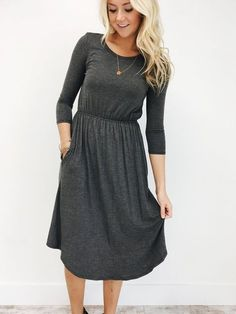 Charcoal 3/4 Sleeve Midi Dress Pockets + Elastic Waistband Extremely Soft Material Fits True to Size Also Available in Black, Navy, Taupe, + Burgundy