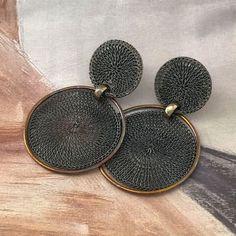 Bronze-Vega-MZ-earrings Black Earrings, Round Earrings, Unique Earrings, Drop Earrings, Copper Frame, Boho Fashion, Silver Jewelry, Jewelry Design, Bronze