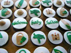 Beach baby shower cupcakes