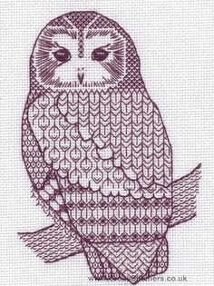 tawny owl blackwork kit.  so. cool.