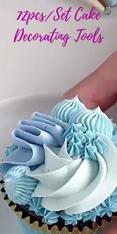 Cupcake Decorating Tips, Cake Decorating Frosting, Cake Decorating Designs, Cake Decorating Techniques, Cookie Decorating, Cupcake Piping, Cupcake Cakes, Frosting Recipes, Cupcake Recipes