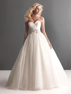tulle ball gown, asymmetrically ruched strapless bodice, sweetheart neckline and natural waistline defined with beading and floral detail.