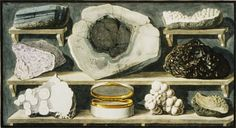 Stone specimens found by Hamilton on Mount Vesuvius Pietro Fabris (Italian, act. 1768-1778) Hand-colored etchings from William Hamilton, Campi Phlegraei. Naples, 1776 William Hamilton�s interests, and his collections, took in both archeology and geology. His book itself served as a virtual collection, displaying objects like these stone specimens in the form of beautifully colored prints.