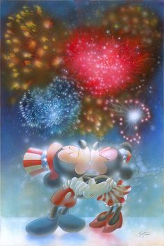 """""""Fireworks"""" By John Rowe - Hand-Embellished Limited Edition of 50 on Canvas, 24x16.  #Disney #DisneyFineArt #MickeyMouse #MinnieMouse #JohnRowe"""
