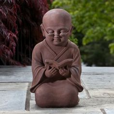 Alfresco Home Reading Buddha Garden Statue modern-garden-sculptures