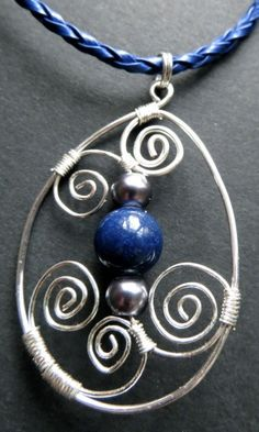 Lapis lazuli necklace with silver wirework by QuiddityGifts