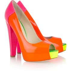 WOW~LOVIN these awesome Alima neon patent~leather color block pumps by Brian Atwood! Brian Atwood, Stilettos, High Heels, Christian Louboutin, Me Too Shoes, Dream Shoes, Neon Pumps, Mode Shoes, Pumps