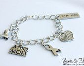 Support the Troops- Army Mom Charm Bracelet with Green and Black Knotted Ribbon