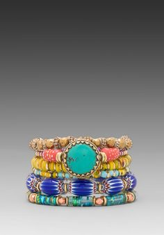 VANESSA MOONEY Eye of the Storm Bracelet Set in Multi - New