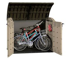 Keter Store-It Out Ultra Outdoor Plastic Garden Storage Bike Shed, Beige and Brown, 177 x 113 x 134 cm Bike Storage Modern, Wood Storage Sheds, Garden Storage Shed, Storage Boxes, Smart Storage, Storage Ideas, Outside Bike Storage, Outdoor Bike Storage, Outdoor Toys