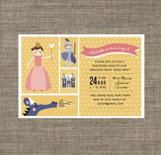 Princess and Knight Party Invitation - printable pdf - in pink / yellow, 4th, 5th, 6th, 7th, 8th girls birthday invite with dragon