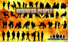 business people silhouettes - Photoshop custom brushes - vector graphics - free