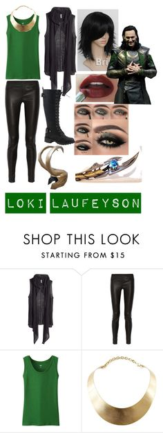 """""""Loki Inspired Look"""" by dissyd311 ❤ liked on Polyvore featuring H&M, Helmut Lang, Uniqlo, GUESS, Maybelline and Nature Breeze"""