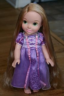 I need to remember this for Maddie's Rapunzel doll . . .  How to fix the hair.