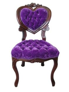 My grandmother had a purple chair. She was a very conventional woman, and her purple chair was at odds with my perception of her. It was not until years later that I discovered that purple was her favorite color, as it was mine. Victorian Furniture, Victorian Decor, Vintage Furniture, Victorian Chair, Primitive Furniture, Refurbished Furniture, Classic Furniture, Repurposed Furniture, Industrial Furniture