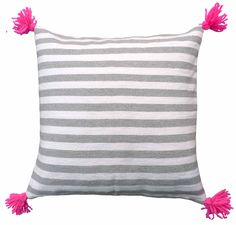 Grey & white & pink cushion cover with pink pom-poms, designed by kira-cph.com