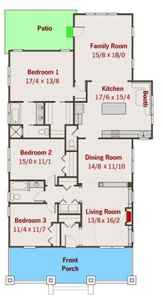 Bungalow House Plan with Flexible Kitchen - floor plan - Main Level Narrow Lot House Plans, Small House Floor Plans, Cabin House Plans, House Plans And More, Best House Plans, Dream House Plans, Bungalow Floor Plans, Cottage Floor Plans, Craftsman Style House Plans