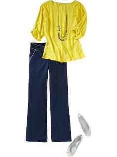 I love dressy tops with dark denim jeans.  Dressy yet comfy!  *Yellow is so cute for spring.