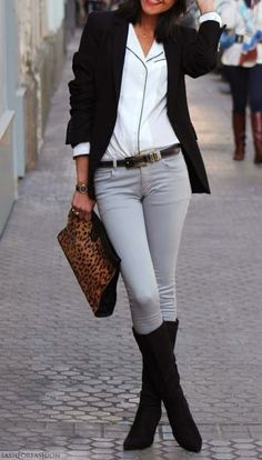 Mix a light grey pant with white, black and leopard for the perfect mix of neutral with some pop