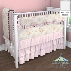 Crib bedding in Solid Pink, Pink Floral, Pink Dimpled Minky. Created using the Nursery Designer® by Carousel Designs where you mix and match from hundreds of fabrics to create your own unique baby bedding. #carouseldesigns