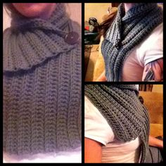 "DIY Crochet scarf. Only took me 4 hours to make!  I used a size K crochet hook and standard grade synthetic yarn.  Chain 100 (for length) Row 1 HDC across starting at the 3rd ch from hook. Chain 2 and turn.  Row 2 *HDC across into the BACK of each loop.* Chain 2 *Repeat until desired width.* (I did 8"" because I wanted a cuffed collar.) Add a spare button and see on with a tapestry needle so that the scarf can slide over your head. =)"