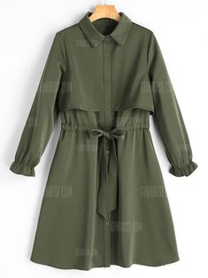 Buy Belted Button Up Long Sleeve Shirt Dress, sale ends soon. White Long Sleeve Dress, Long Sleeve Shirt Dress, Blouse Dress, I Dress, Long Sleeve Shirts, Frock Fashion, Hijab Fashion, Fashion Dresses, Hijab Stile