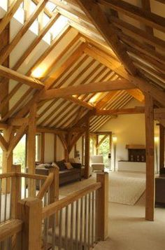 Rare upper level barn room with interrupted-tie frames to emphasise height: