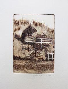 original etching and aquatint of a beach hut Andrea Cook