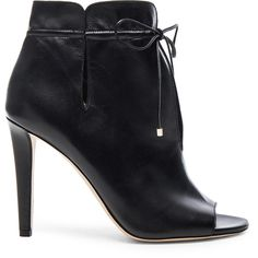 Jimmy Choo Leather Memphis Booties (13.279.525 IDR) ❤ liked on Polyvore featuring shoes, boots, ankle booties, booties, peep toe booties, cut out peep toe booties, cutout booties, leather boots and leather upper boots
