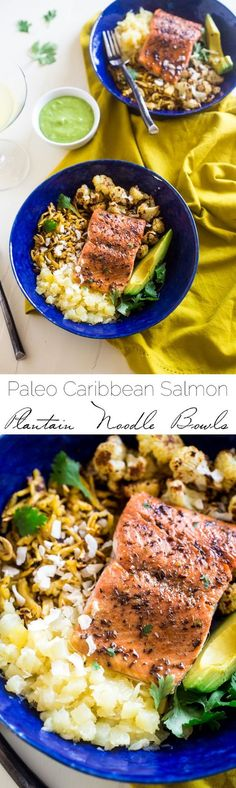 Caribbean Salmon Plantain Noodle Bowls - Plantain noodles are mixed with pineapple, spicy roasted cauliflower, sweet baked salmon and topped with coconut avocado sauce for a tropical, paleo meal! A delicious healthy dinner recipe! | Foodfaithfitness.com | @FoodFaithFit