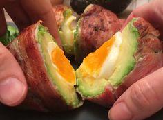 Nagyon egyszerű recept, nincs túlkomplikálva. Bacon szalonnába göngyölt avokádó aminek a mag helyén főtt tojás található. Baked Potato, Sushi, Bacon, Potatoes, Eggs, Breakfast, Ethnic Recipes, Food, Morning Coffee