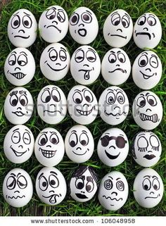 White Eggs And Many Funny Faces Stock Photo, Picture And Royalty Free Image. Image funny White eggs and many funny faces Rock Painting Ideas Easy, Rock Painting Designs, Paint Designs, Egg Designs, Pebble Painting, Pebble Art, Stone Painting, Eye Painting, Stone Crafts