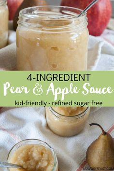 Kid-friendly and ready in 35 minutes! Homemade Pear and Apple Sauce is made with just 4 simple ingredients. Skip the sugar and preservatives that come in store-bought applesauce and try this from-scratch version instead. Great to have in the house for snacks or to use in recipes. Apple Recipes For Toddlers, Apple Recipes Easy, Kid Recipes, Sauce Recipes, Baby Food Recipes, Drink Recipes, Apple Sauce For Babies, Easy Apple Sauce, Healthy Foods