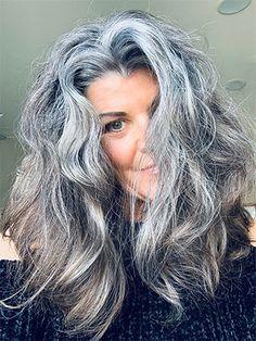 Long Silver Hair, Long Gray Hair, Grey Hair Over 50, Grey Hair Styles For Women, Long Hair Styles, Gray Hair Women, Short Brunette Hair, Dark Brunette, Grey Hair Journey