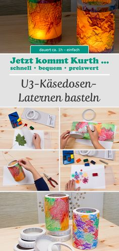 Lanterns made from cheese cans are the classics on the Sankt Martins train. This DIY -. Diy For Kids, Crafts For Kids, Diy Crafts To Do, How To Make Lanterns, Adhd Kids, Kids And Parenting, Diys, Canning, Halloween