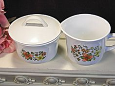 Vintage Corning Ware Spice Of Life Cream And Sugar With Lid Set