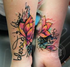watercolor lotus coverup tattoo by Logan Bramlett Follow me on IG to see more work @LoganBram