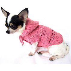 Pink Peach Dog Hoodie Sweater Cute Girly Chihuahua Hood by myknitt