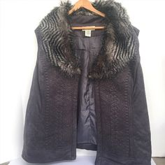 49.99$  Watch here - http://vicnq.justgood.pw/vig/item.php?t=9g4fzs58700 - Seventh Avenue Faux Fur Charcoal Gray Quilted Lining Women's Vest 3X