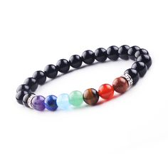 Summer Jewelry Women Men 8mm Beads Chakra Black Onyx Bracelet Yoga Reiki Prayer Mala Bracelets