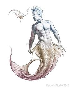 Merman Wall Art, Print from original fantasy artwork by JL Aun Anime Art Fantasy, Fantasy Artwork, Drawing Sketches, Pencil Drawings, Art Drawings, Fantasy Wizard, Mermaid Art, Male Mermaid, Mermaid Pictures