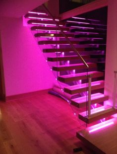 Home Decor Signs Colour-change LEDs recessed in each tread.Home Decor Signs Colour-change LEDs recessed in each tread Home Bedroom, Bedroom Decor, Bedrooms, Neon Room, Girl Bedroom Designs, Dream Home Design, Aesthetic Rooms, Dream Rooms, Neon Lighting