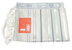 Wool Tashbetz Tallit with White, Grey and Silver Stripes by World of Judaica. $100.00. This wool Tashbetz Tallit has grey, silver and shiny white stripes on the sides, Tzitzit on the corners and an Atara on the top that has embroidered silver and grey decorations. This white pure sheep wool Tashbetz Tallit features grey and silver stripes on its sides in different widths together with shiny white stripes and has knotted fringes on its outer edges. The top of the Tallit featur...