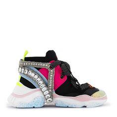Sophia Webster Rocket Crystal-embellished Neoprene Sneakers In Black New Sneakers, Sports Luxe, Sophia Webster, Luxury Shoes, Pink Leather, Crystals, Heels, Black, Delivery