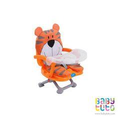 Silla de comer tigre naranjo, $29.990 (precio referencial). Marca Baby Way: http://bbt.to/1DrNyQ0