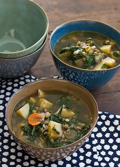 Chard, Lentil & Potato Slow Cooker Soup from Oh My Veggies