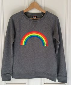 Women's Rainbow icon sweatshirt. Organic round neck raglan sleeve sweatshirt in…