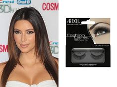 TV personality Kim Kardashian never leaves the house without an extra pair of Ardell false lashes. They're an awesome tool to get dramatic lashes instantly with absolutely no fuss (and no mascara smears). To get a flawless false lash application, cut the lash off in the direction of your own lashes, at an angle, to taper off the lash.