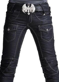 Belt!     Rocker Fashion For Men | ... mens Punk Skull Denim Straight Baggy rock Pants punk styles no 001K013
