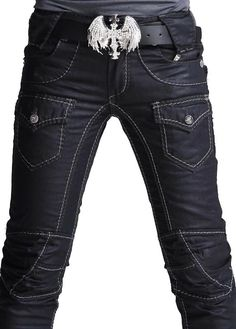 Belt!     Rocker Fashion For Men | ... mens Punk Skull Denim Straight Baggy rock Pants punk styles no 001K013